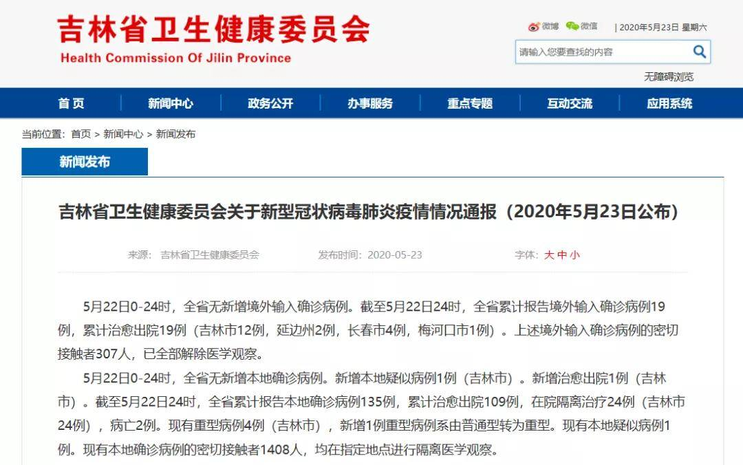 吉林省卫生健康委员会关于新型冠状病毒肺炎疫情情况通报