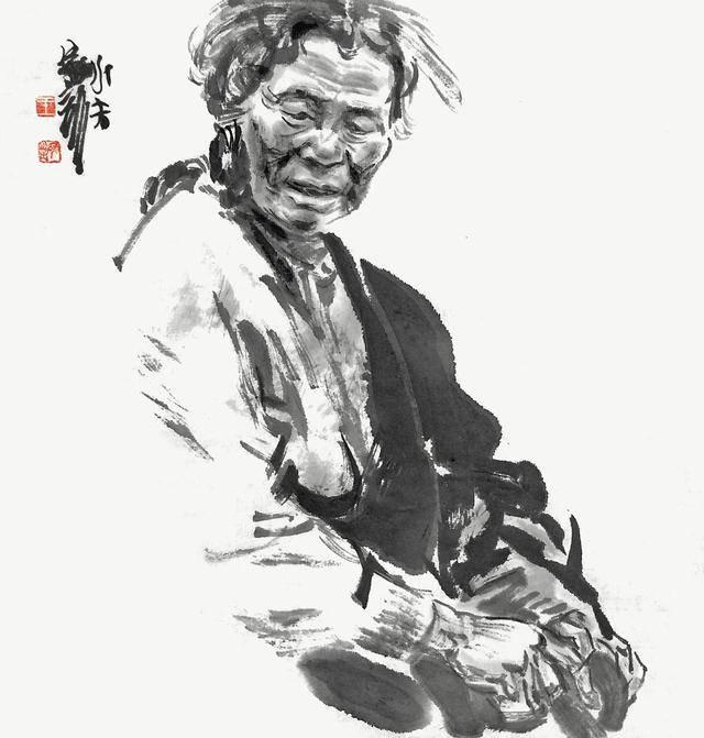 从生活中找来美的踪迹王家训甘孜州水墨肖像写生