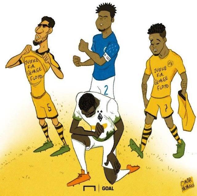 足球有爱!众多俱乐部和球员声援遭暴力执法死亡的黑人,含登贝莱