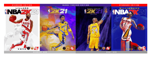 NBA 2K21三位封面球员公布:利拉德、科比、锡安
