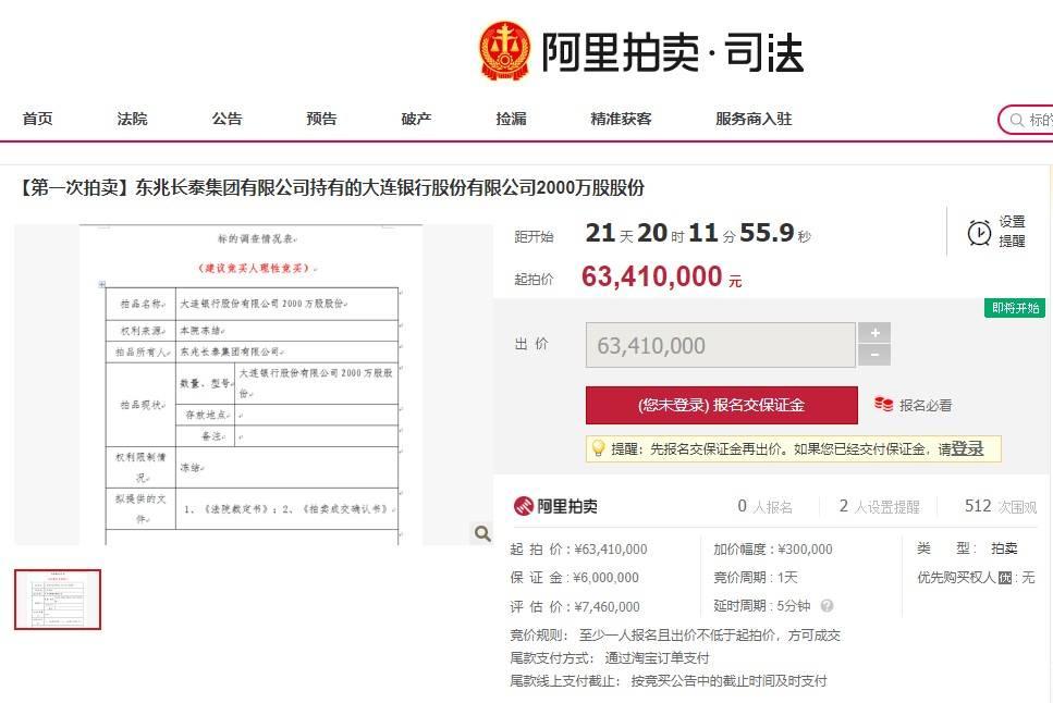 东兆长泰集团法律纠纷缠身所持1亿股大连银行将被拍卖