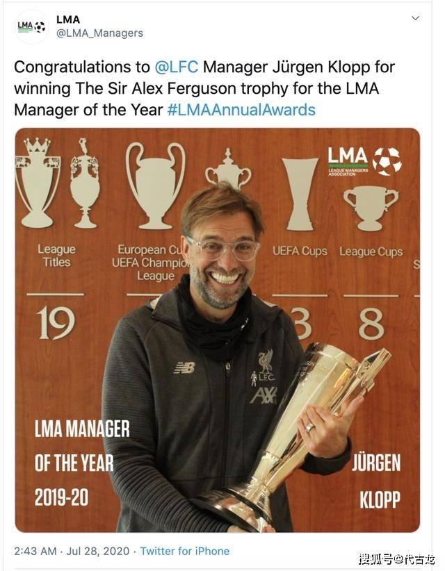 原创             利物浦的骄傲!克洛普勇夺弗格森奖,疯子贝尔萨仅排名第4