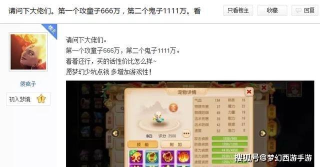 梦幻西游手游新区玩家攒千万金币买宠物,这两只该如何抉择?