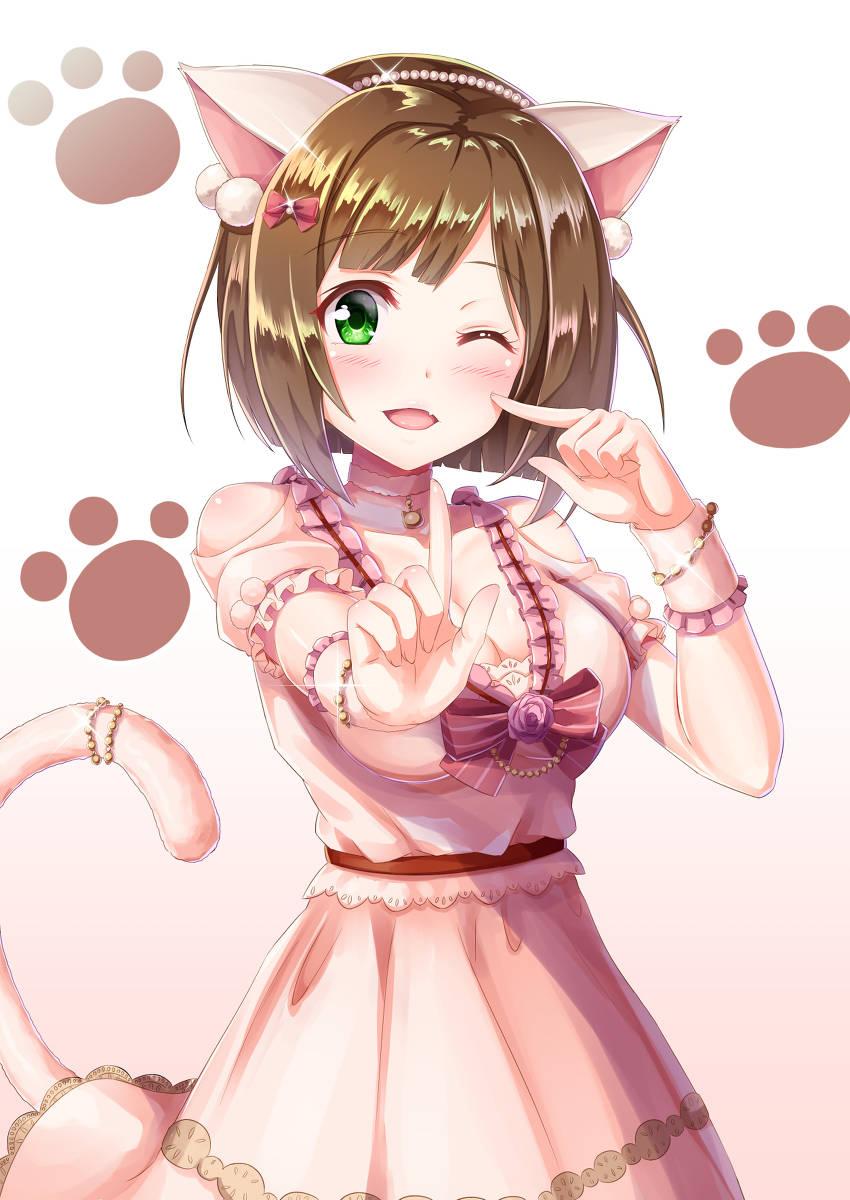 动漫插画图片分享:甜甜美少女送你了一个wink!请查收!