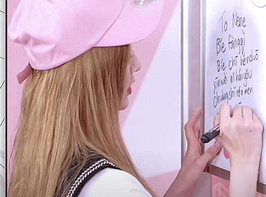 明星写汉字,吉娜像小学生,看到郑乃馨