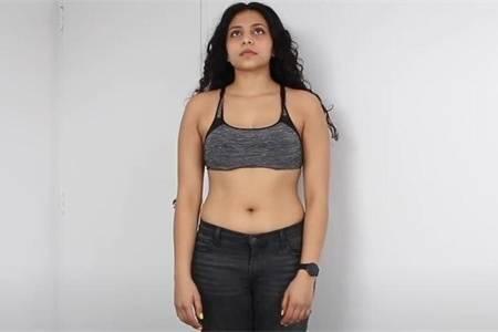 女生每天做100个仰卧起坐,做了1个月,看她身材正、侧、背面变化