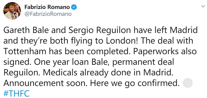 即将官宣!曝贝尔已经完成体检和合同签订,将租借加盟热刺1年