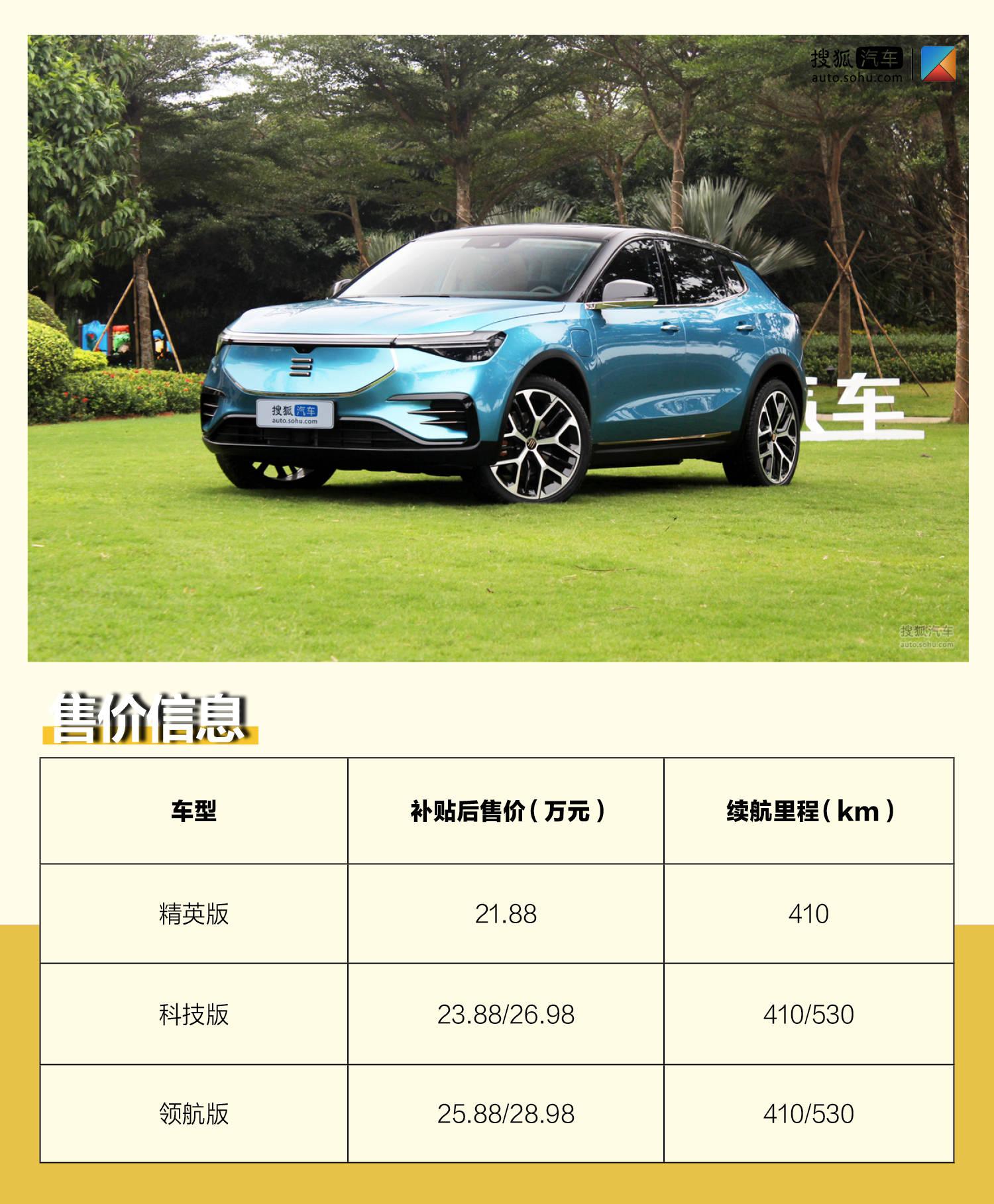 补贴后售价21.88-28.98万元 天际ME7正式上市