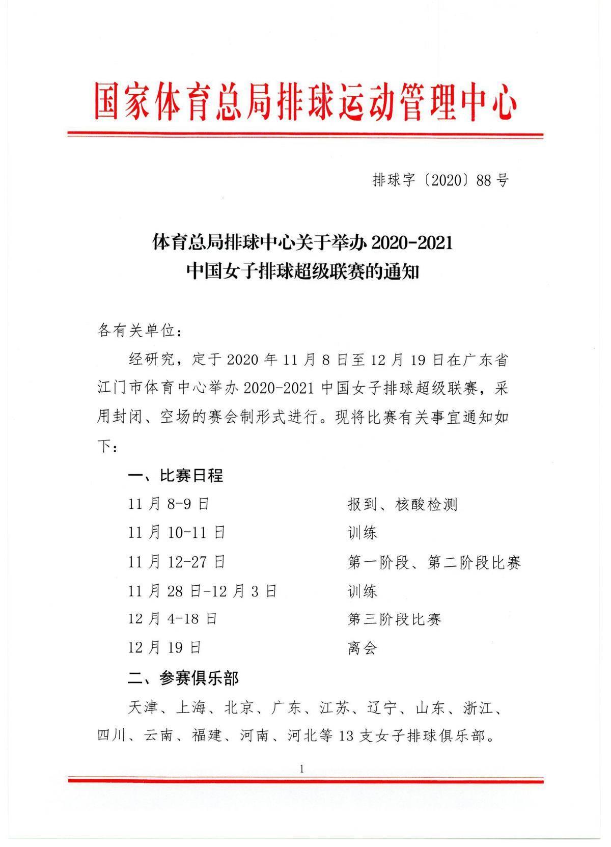 女排联赛比赛日期确定:11月8日广东进行 采用赛会制