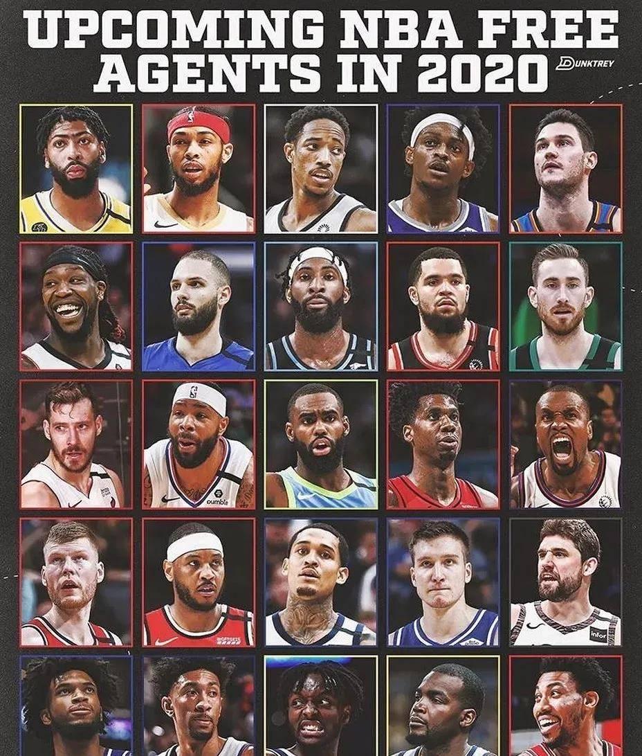 休赛期25名自由球员 你支持哪支球队想赢?