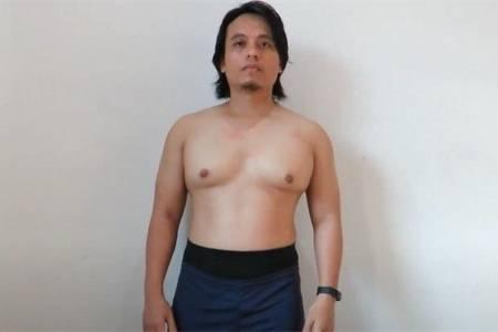 小哥跳绳减肥每天跳1000下,坚持跳1个月,看他身材正侧背面变化