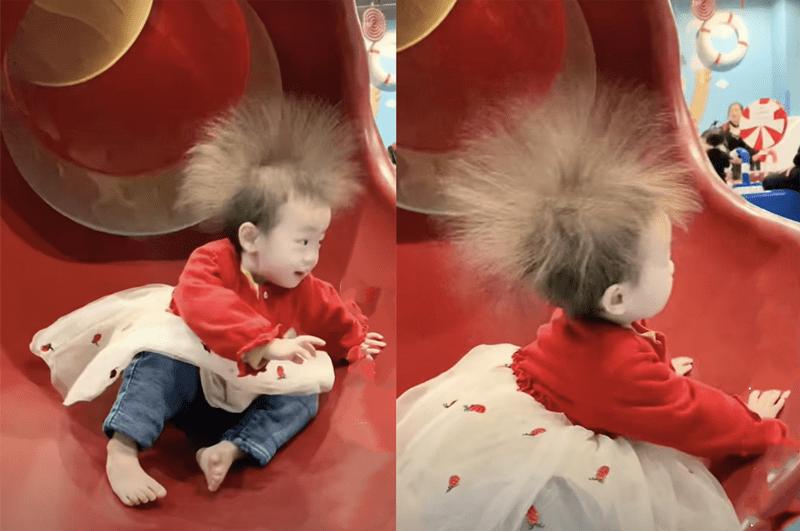 """宝宝玩滑梯,下来后瞬间变""""爆炸蒲公英"""",家长:省钱做造型了  第4张"""