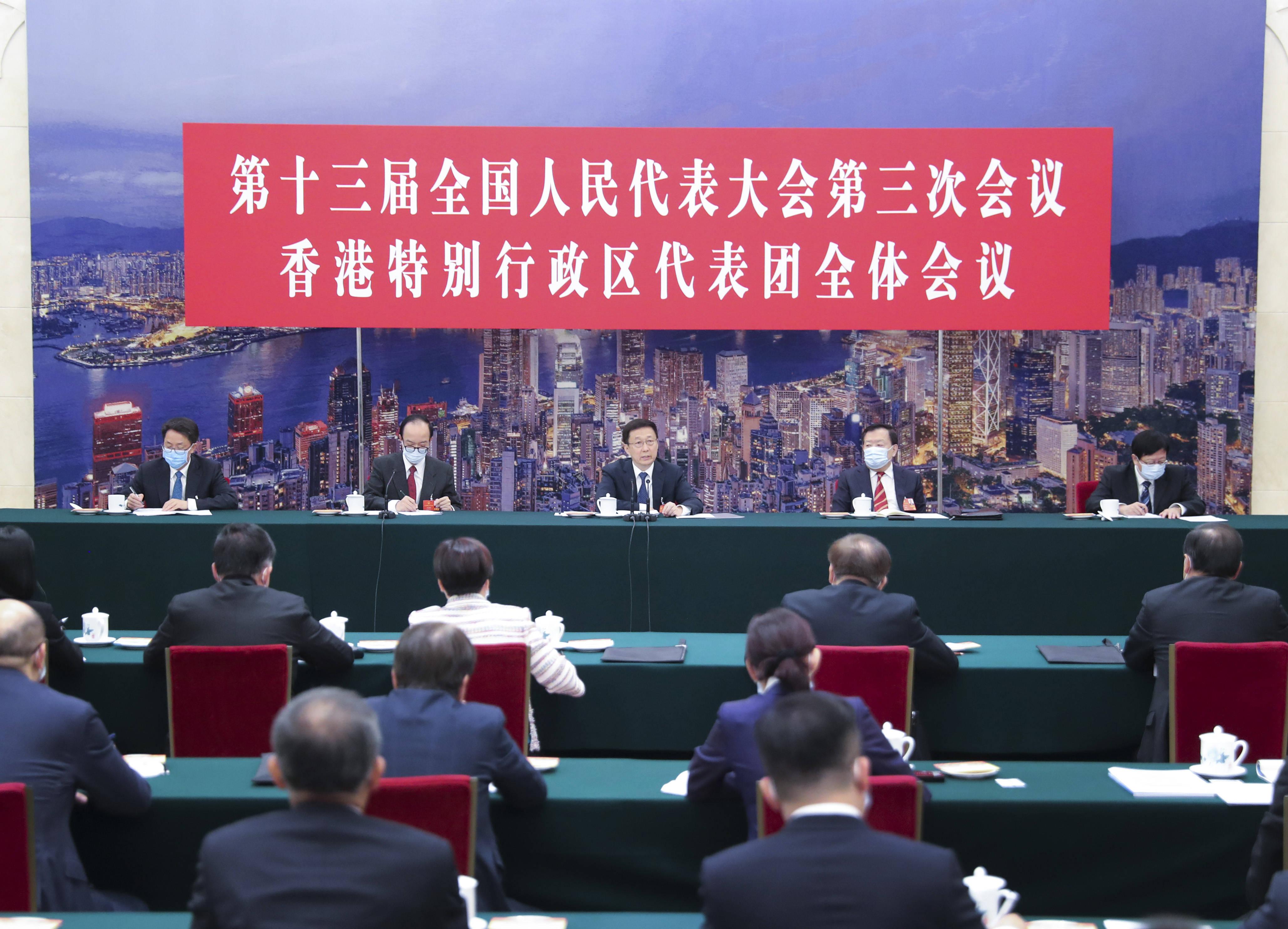 韩正参加香港代表团审议