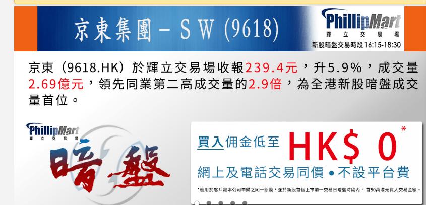 京东港股暗盘交易收涨6%,明日上市能否突破240港元?