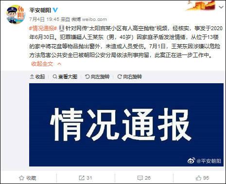 北京一男子从13楼将花盆等物抛出窗外 被刑拘