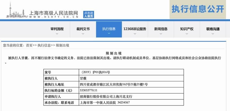 贾跃亭妻子甘薇被法院限制出境,涉及执行标的5.33亿余元