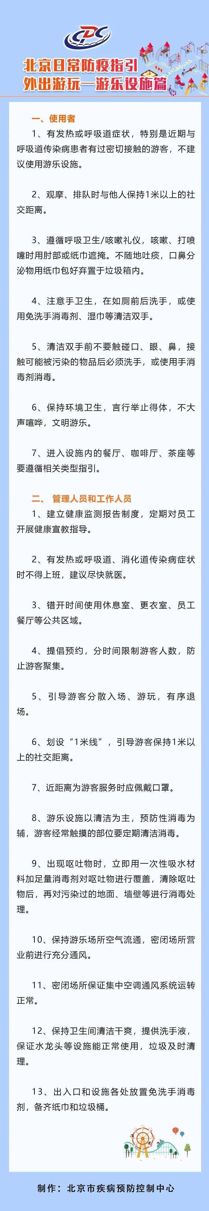 【北京疾控提醒您】北京日常防疫指引——游乐设施篇