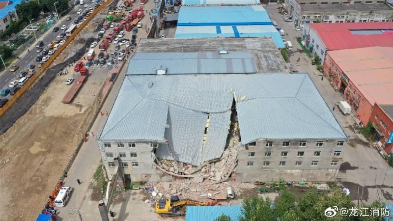 哈尔滨食品仓库坍塌7人被困:加盖两层对外转租,附近商铺均断电