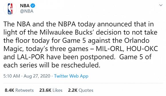 美威斯康星州枪击事件引发球员抗议,NBA宣布推迟今日三场季后赛