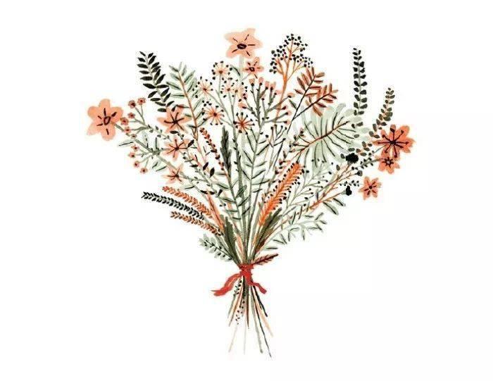 收藏 清新的水彩花束,适合练习的水彩花束作品素材