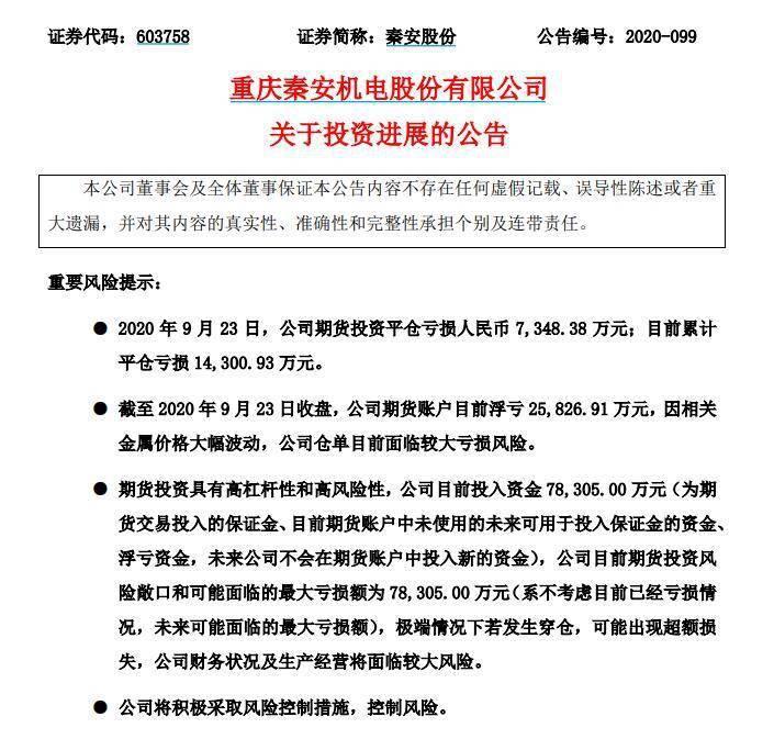 """_""""期货大王""""跌落神坛!秦安股份期货账户浮亏2.58亿"""