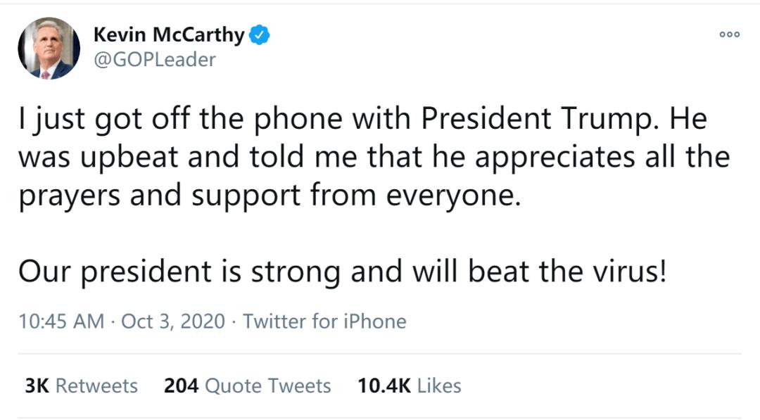 刚刚,特朗普发了入院后第一条推特!开始接收这个药治疗