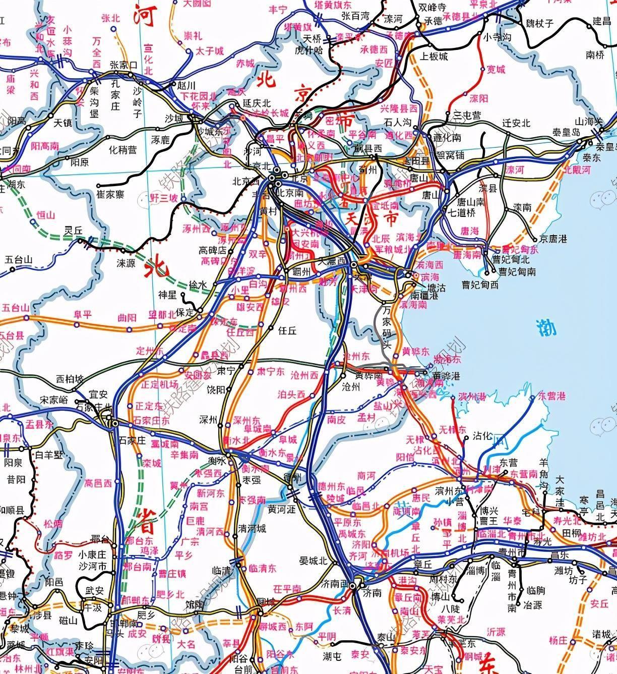 2020版京津冀铁路规划图 石家庄依旧,滨海雄安衡水成枢纽