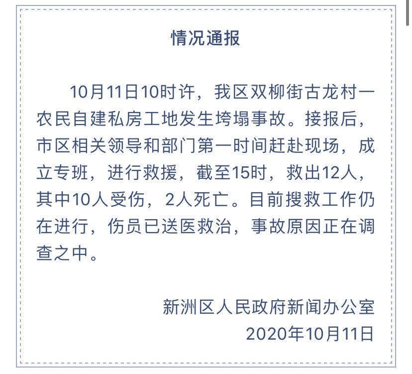 恒达官网武汉新洲一在建房垮塌致2死10伤,被埋人员系参与建房的村民(图2)