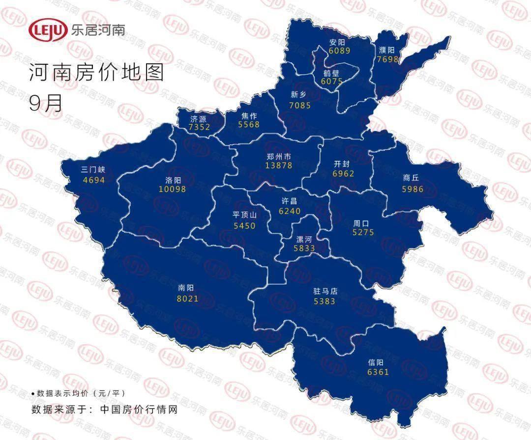 河南18个城市最新房价发布!郑州跌了近千元!开封反击增幅最高!