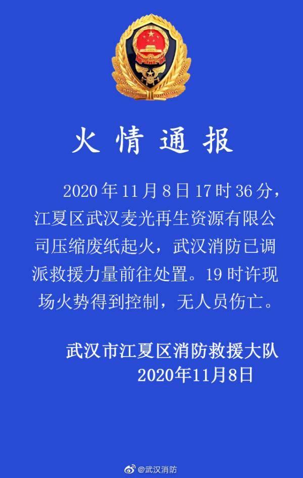武汉一公司压缩废纸起火 目前火势已得到控制 无人员伤亡