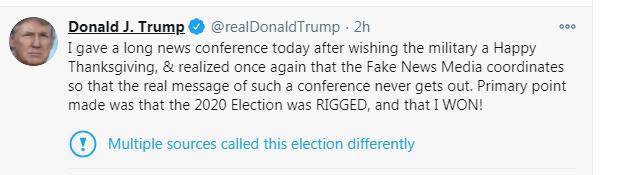 """外媒报道""""特朗普说将离开白宫""""后,特朗普:我的主要观点是大选被操纵,我赢了!"""