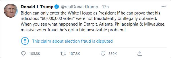 特朗普:拜登只有证明自己的8000万选票合法,才能入主白宫