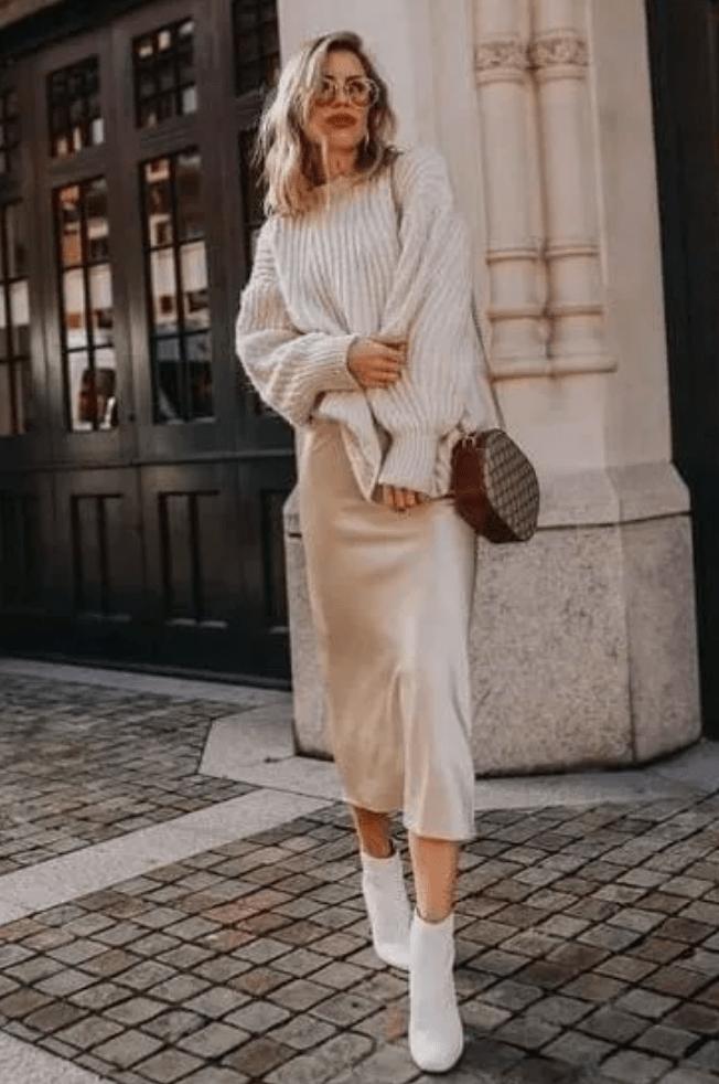 大毛衣+半裙=今冬最慵懒气质打开方式,时髦炸!