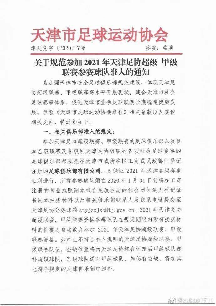【会员协会】《关于规范参加2021年天津足协超级甲级联赛参赛球队准入的通知》(须是在工商或民政部门登记的足球俱乐部有限公司)