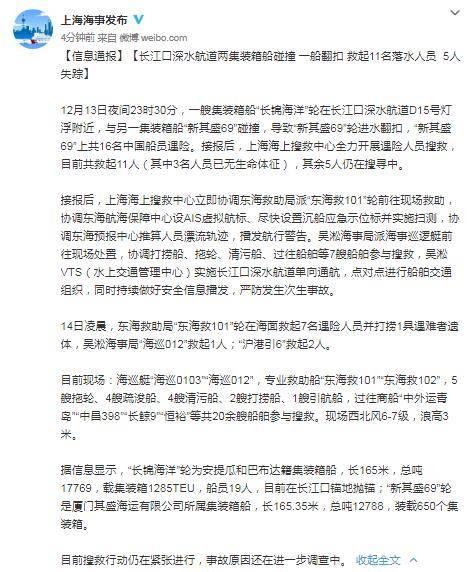 长江口两船碰撞一船翻扣:目前已救起11人,其中3人无生命体征