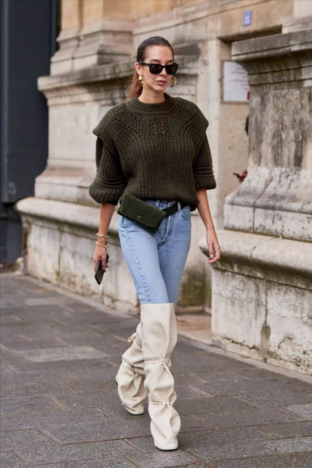 真正时髦的人冬天穿牛仔裤