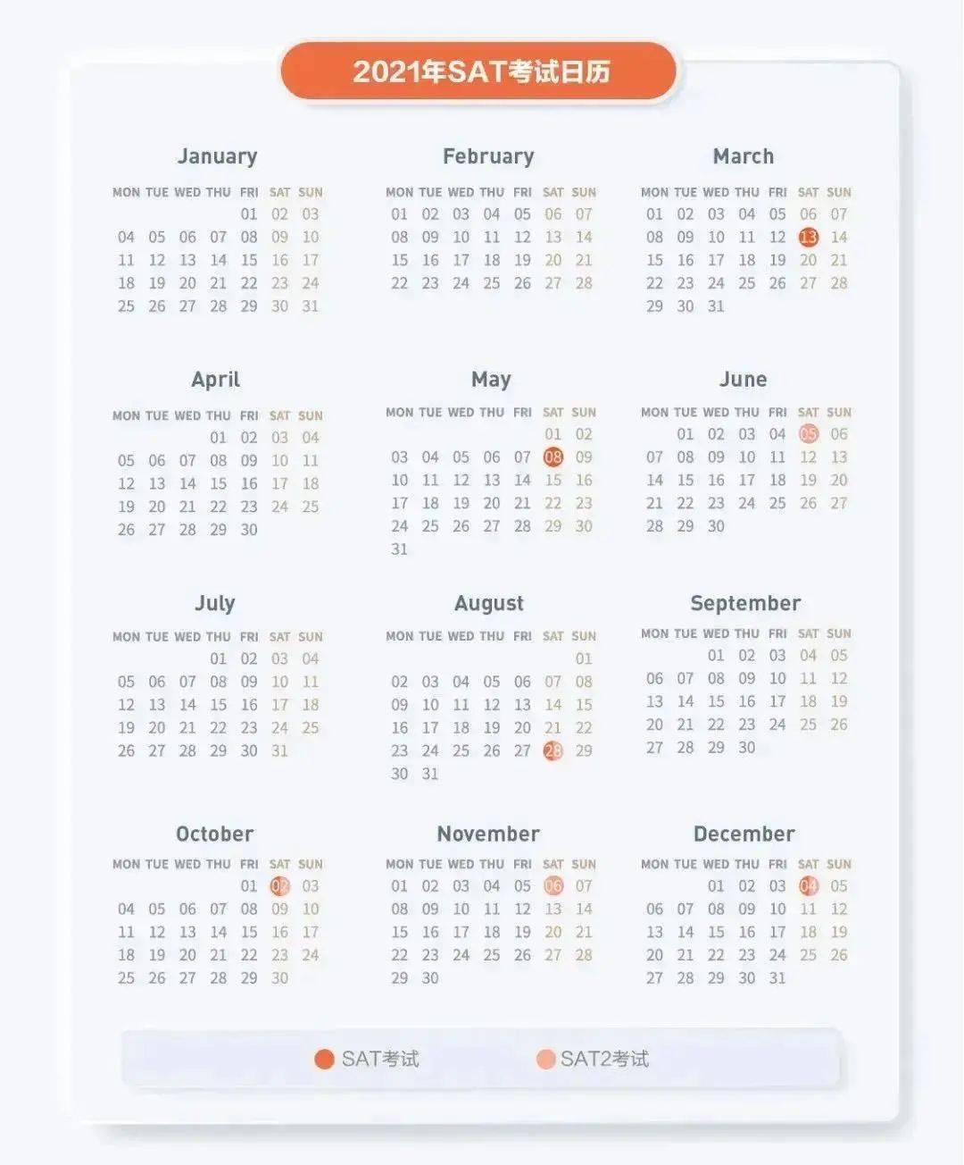 2021全年托福、雅思、GRE、SAT考试安排,建议收藏!