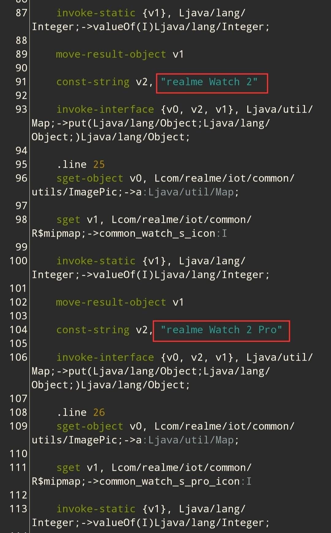 源代码披露realme新款智能手表:可能有两个版本