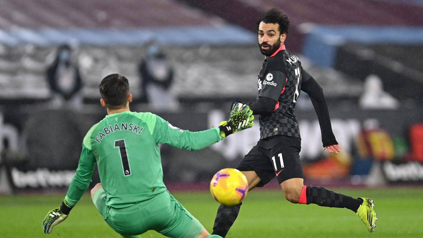 萨拉赫接连四个赛季进球20+ 加冕利物浦英超第一人