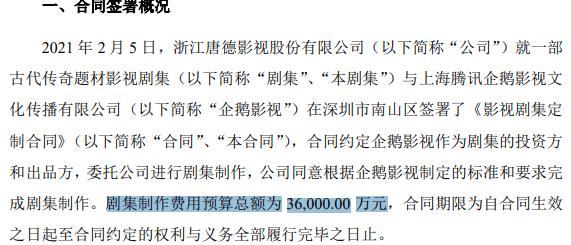 唐德影视为企鹅影视定制3.6亿古装剧