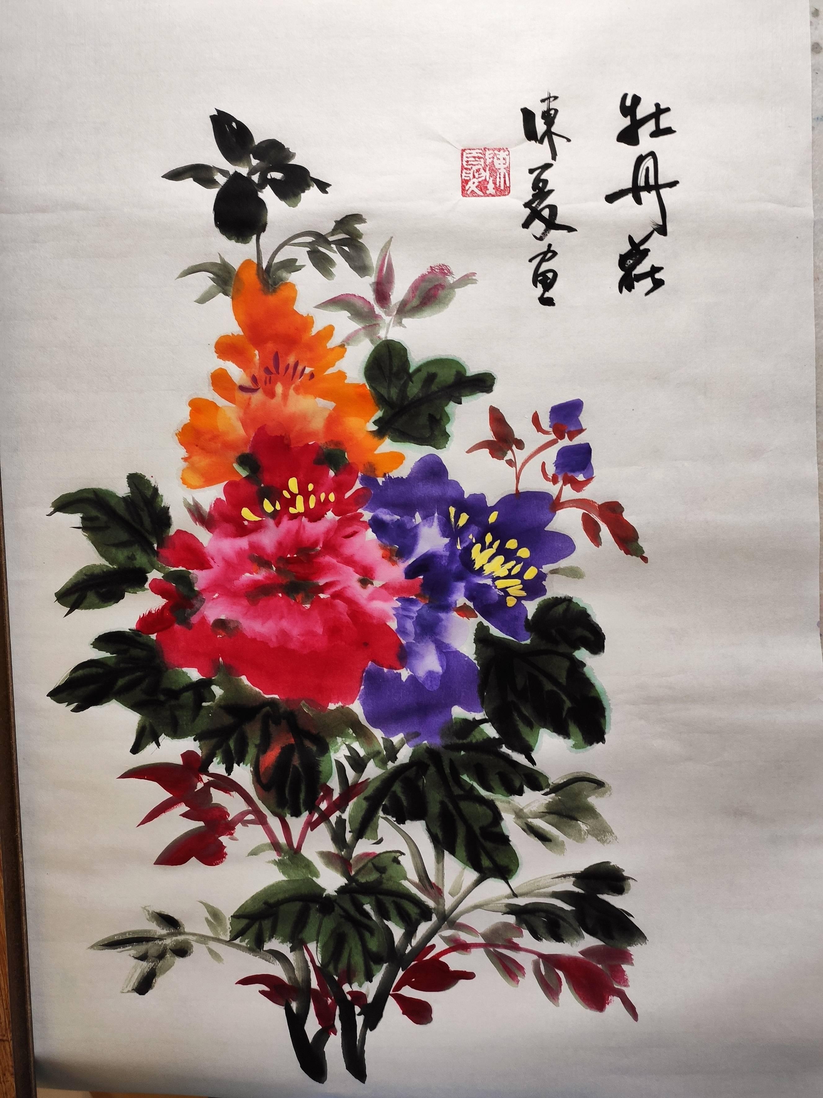 黄牡丹画法  一捧玫瑰花的简画