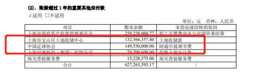 上港公司公布年报 需向足协支付1.5亿转会引援调节费