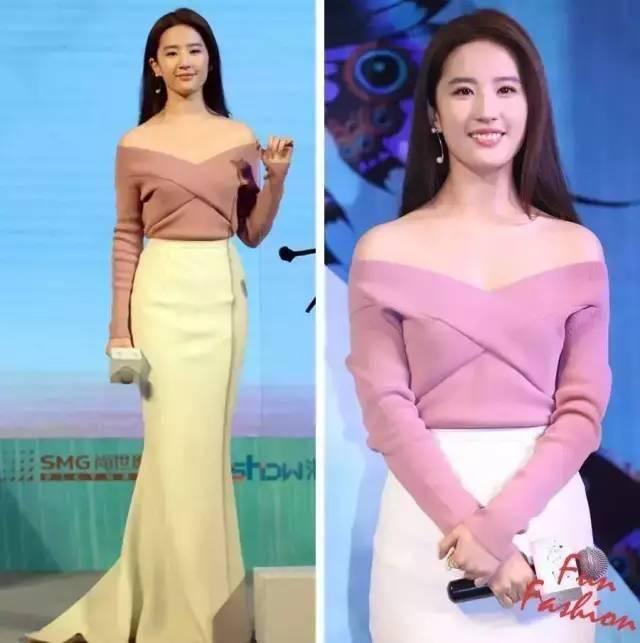 """原创             我被刘亦菲的""""葫芦曲线""""美到了!粉色上衣搭配半身裙,高贵优雅"""