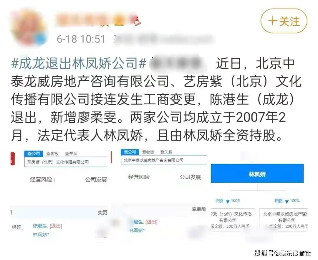 成龙退出林凤娇全资持股公司 成龙林凤娇分家产要离婚?