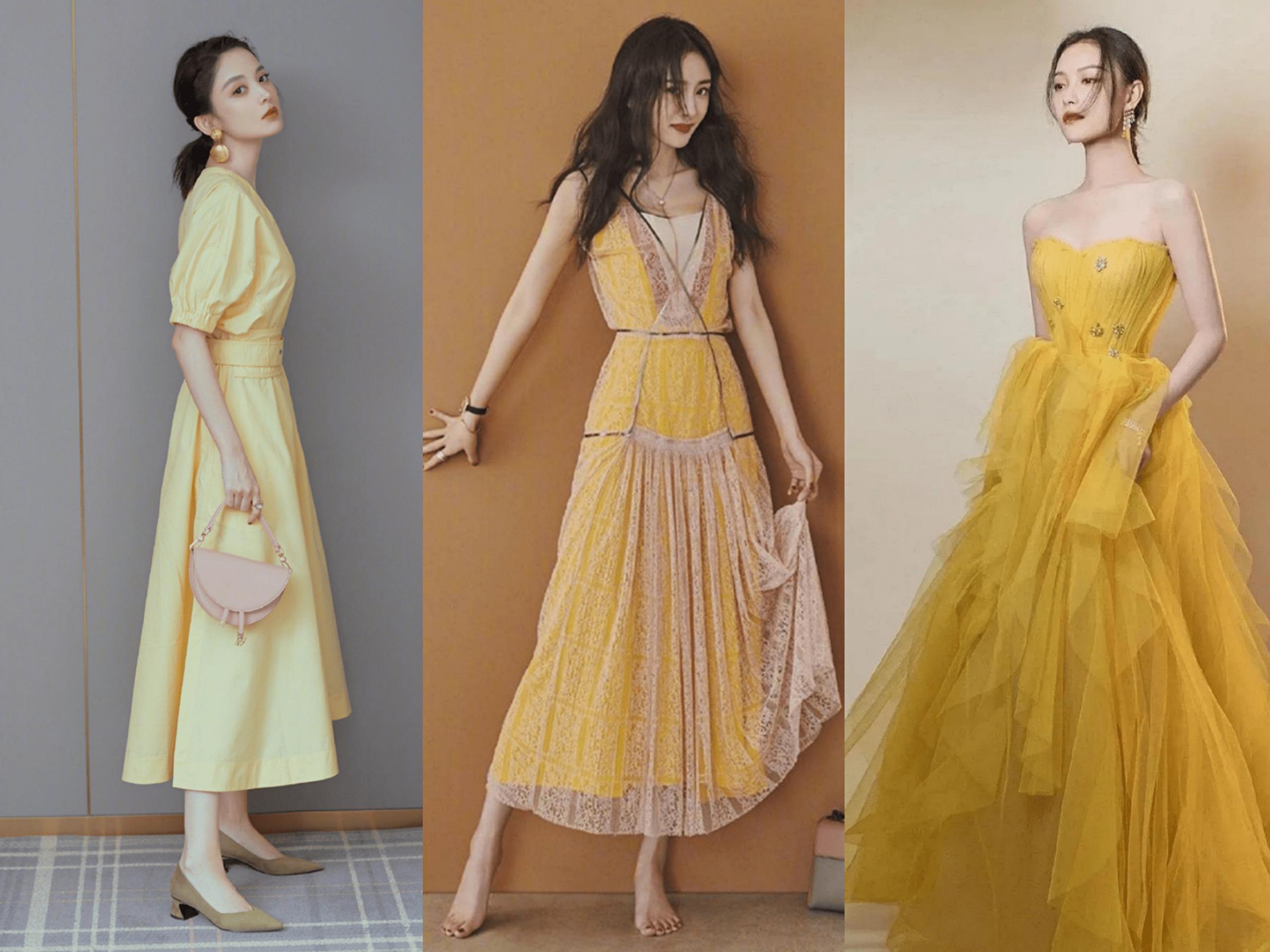 淡黄的长裙很火,明星的多彩裙让你时尚整个夏天!