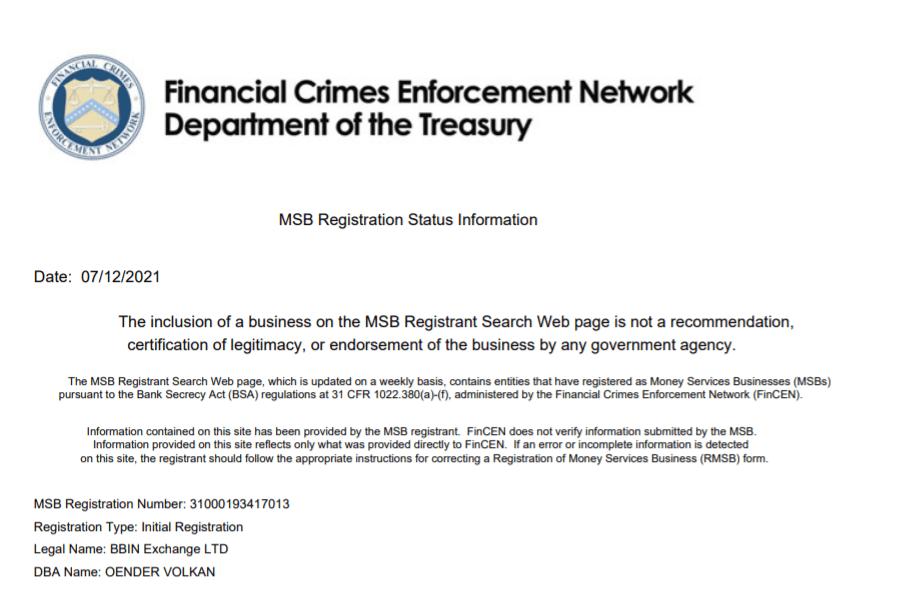 BBIN交易所荣获MSB牌照 全球合规布局再下一城  第2张 BBIN交易所荣获MSB牌照 全球合规布局再下一城 币圈信息