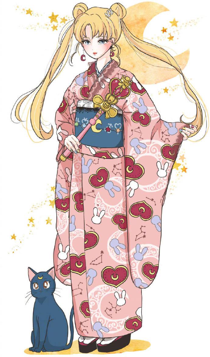 同人推荐:和服版的美少女战士好美啊,造型太华丽了