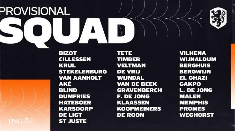 荷兰欧洲杯34人初选名单:德容领衔 无范迪克罗本
