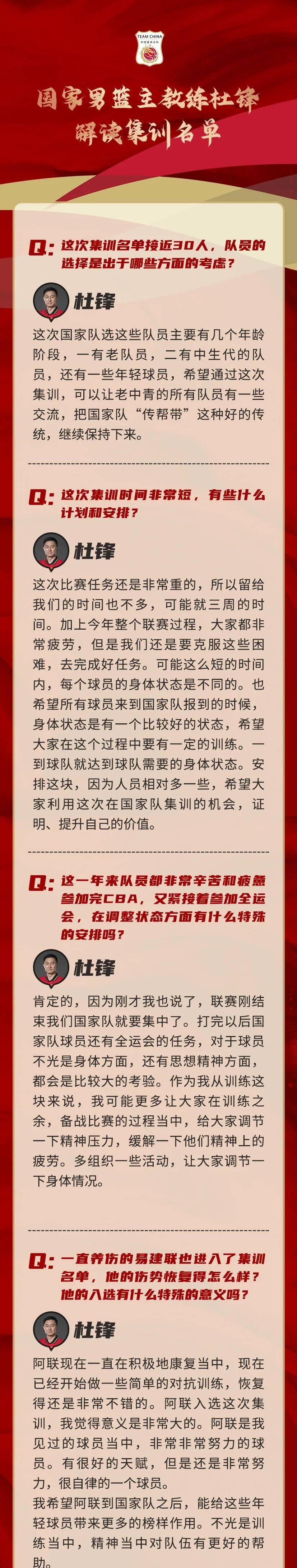 杜锋解读男篮名单:老中青三代结合 阿联入选有榜样意义
