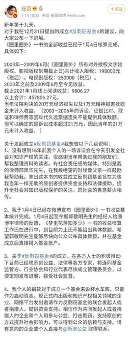 庄羽公布反抄袭基金进展:《圈外》共赚45万多元。希望京麦国尽快公布金额